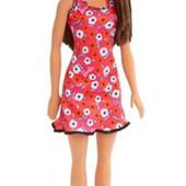 Нова Барбі в червоній сукні в квіточку, Супер стиль, Barbie, Mattel!!!Знята із виробництва!!!!
