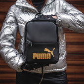 """Женский рюкзак """"PM"""" черный с золотом"""