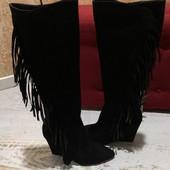 Високі чоботи із натуральної замші,від Minelli,розмір 40,устілка 26,5