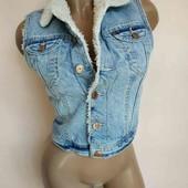 ♥️Классная теплая джинсовая жилетка на овчине♥️