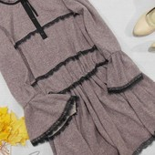 Лавандовое платье с кружевом