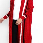 Шикарный вязаный кардиган красного цвета размер 52-54