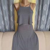 Трикотажное полосатое платье с воланом сверху, размер XS-S