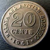 №23 монета Малайя и Британское Борнео 20 центов, 1961