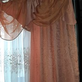Богатейшие шторы,2шт +ламбрикен, 145*260(каждая!!!)