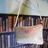 Перламутровая сумочка клатч двусторонняя паетка перевертыш, вместительная, белая/перламутровая
