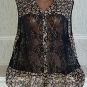Шикарная блуза с гипюровыми вставками р-р 54