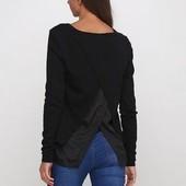 Нежный женственный пуловер обманка черного цвета с красивой спинкой
