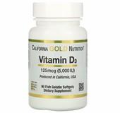 California gold nutrition, витаминD3, 125мкг (5000me), 90рыбно-желатиновых мягких таблеток