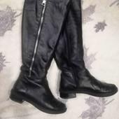 Кожаные высокие сапоги, размер 37