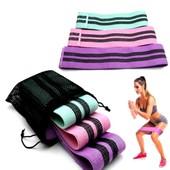 Набор тканевых резинок Resistance Band (Резистенд Бенд) для фитнеса и спорта ( комплект из 3 штук)