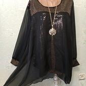 Роскошная нарядная черная с золотом нарядная туника Klass р.22 Новая Акция читайте