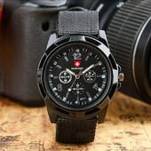 Мужские часы Swiss army Gemius army черные в стиле милитари !!!