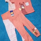 Набор 4 шт, футболочки +штанишки для мальчиков и девочек Lupilu размер 74/80 (6 -12 мес.) )