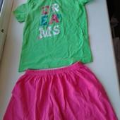 Классный подростковый наборчик футболка+шортики, р.110-116 на 5-6 лет,смотрите замеры и описание