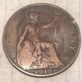 Монета Великобритании 1 пенни 1919