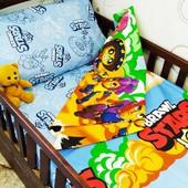 Полуторный комплект постельного белья бязь голд | Дитяча постільна білизна | Braswl stars