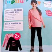 Два хлопковых регланчика на девочку Lupilu ( Германия) Размер 110/116 ( 4-6 лет) Отличное качество)