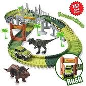 Гнучкий трек з динозаврами і джипом конструктор Dinosaur world create a road
