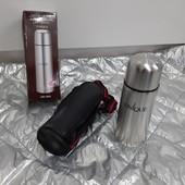 Термос металлический в чехле в коробке с кнопкой для наливания