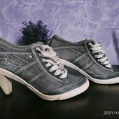 Стильные спортивные кеды на каблуке 37-38р!(натуральная кожа+замша+ джинс)