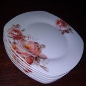 Тарелки квадратные-Розы -6 штук,D-20 см