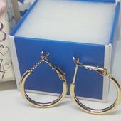Серьги- кольца,классика,простенькие и нежные , позолота 18 к,диаметр 2 см