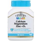 Кальций, Магний, Цинк + витамин D3, 90 таблеток, Америка