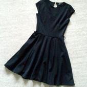 34-36р. Чёрное платье,трикотаж клёш Clyb L
