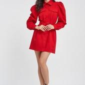 Платье- рубашка красного цвета
