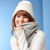 Двухсторонний, вязаный флисовый трубчатый шарф/снуд от Tchibo размер универсальный