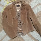 Мега стильный куртка Topshop из натуральной замши с бахромой, размер 14