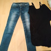 Одним лотом классный лот джинсы и туника черная