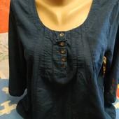 Блузка синего цвета из батиста на S