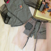 Дуже гарні і круті костюми для ваших модняшок: кофта+ шорти+фатинова спідничка. Оригінальний дизайн.