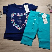 Польша!!! Комплект для девочки: коттоновая футболка и капри! 86 рост! 229 грн и 149 грн!