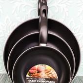 Набор сковородок стенсон 3 шт (0116) | Набор сковородок антипригарных 20 см, 26 см, 30 см |