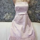 Шикарное, новое платье цвета пудры, со съемными бретелями и рюшами снизу, р. М