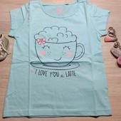 Польша! Милашная коттоновая футболка для девочки! 110 рост! 179 грн по ценнику!