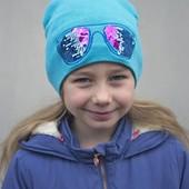 Комплект для девочки шапка+хомут бирюзовый ог 52-56 см ОТ 4 лет, раз-р универсальный, хлопок 60%