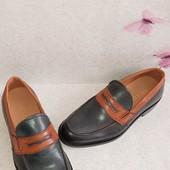 Кожаные мужские лоферы туфли Италия.