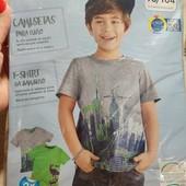 Германия! Коттоновые футболки для мальчика, с динозаврами! 2 шт! 98/104!