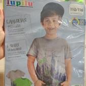 Германия! Коттоновые футболки для мальчика, с динозаврами! 2 шт в лоте! 110/116!