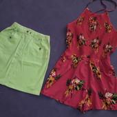 Джинсовая юбка и ромпер на рост 140-150 см