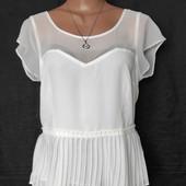Шикарная комбинированная блузочка с плессированым низом,L/xl. Читаем