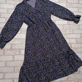 Женственное легкое платье миди, цветочный принт