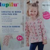 Комплект 2 шт регланы лонгсливы на девочку Lupilu Германия размер 98/104