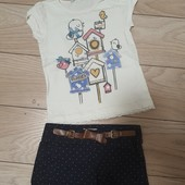 Комплект для девочки 3-4 лет. Шорты и футболка
