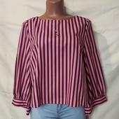 Классная коттоновая блуза в полоску,с объемными рукавами,в новом состоянии. S/m/L