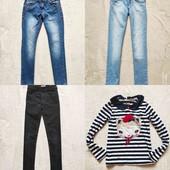 Все фирменные вещи одним лотом, 3 джинсов и реглан на 7-8лет.